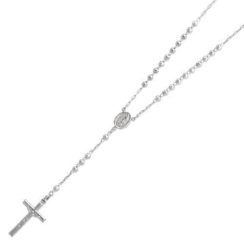 152-001W-040 Rosary White Chain