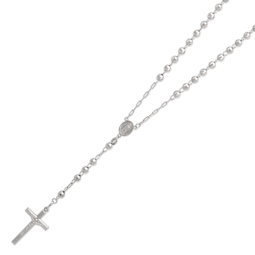 152-001W-050 Rosary White Chain
