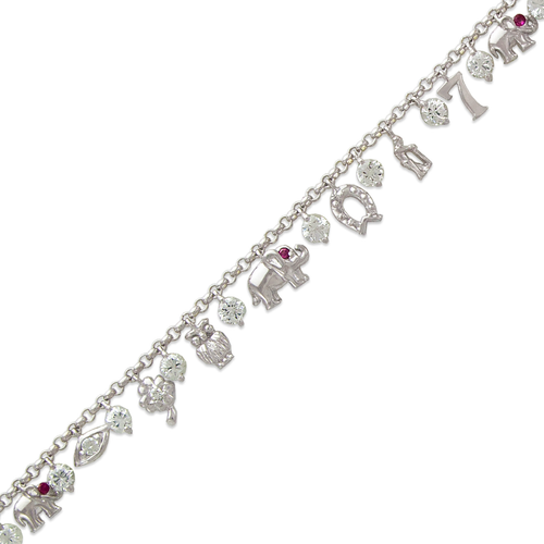 423-111W Fancy Charm White CZ Bracelet