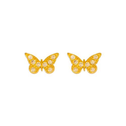 343-138 10mm Butterfly Pave CZ Stud Earrings