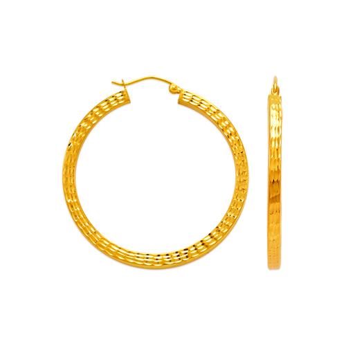 546-561S 3mm Square Tube Hoop Earrings