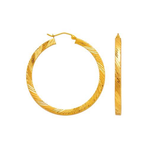 546-571S 3mm Square Tube Hoop Earrings