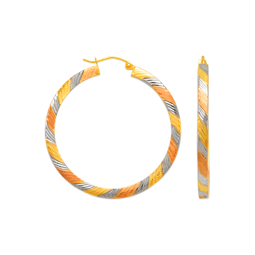 546-571TS 3mm Square Tube Hoop Earrings