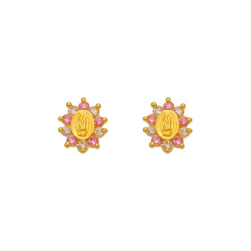 343-306PK Pink Guadalupe Flower CZ Stud Earrings