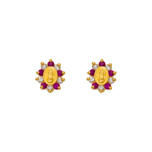 343-306RD Red Guadalupe Flower CZ Stud Earrings