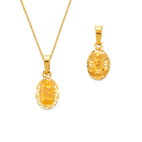 362-601-010 Oval Guadalupe & Sacred Heart Two-Sided Scapular Pendant