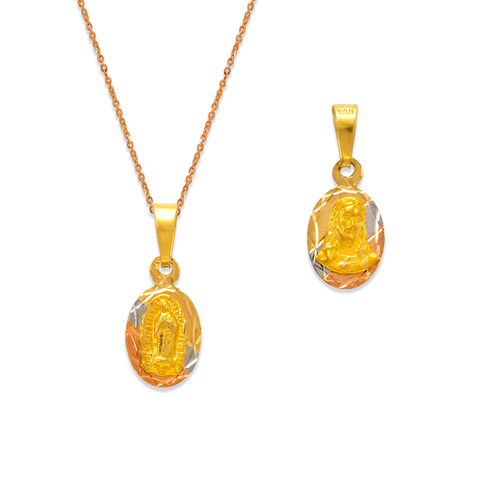 362-602T-010 Oval Guadalupe & Sacred Heart Two-Sided Scapular Pendant