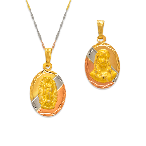 362-602T-016 Oval Guadalupe & Sacred Heart Two-Sided Scapular Pendant