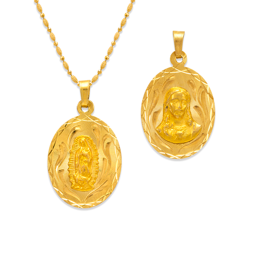 362-603-018 Oval Guadalupe/Sacred Heart Two-Sided Scapular Pendant