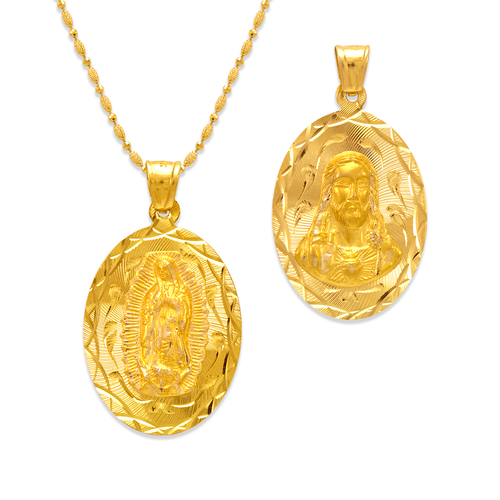 362-603-022 Oval Guadalupe/Sacred Heart Two-Sided Scapular Pendant