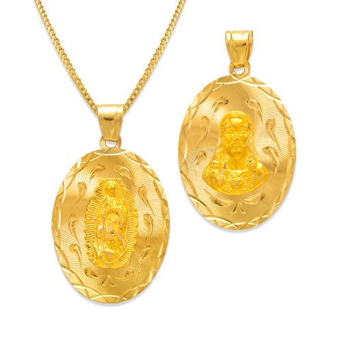 362-603-026 Oval Guadalupe & Sacred Heart Two-Sided Scapular Pendant