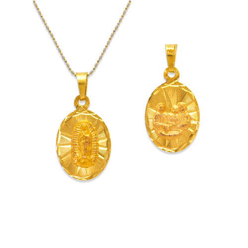 362-606-013 Oval Guadalupe/Baptism Two-Sided Scapular Pendant