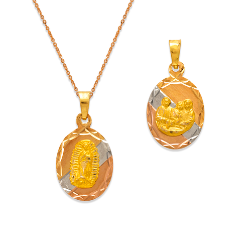 362-607T-013 Oval Guadalupe/Baptism Two-Sided Scapular Pendant