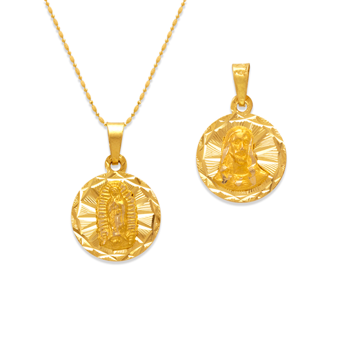 362-651-013 Round Guadalupe & Sacred Heart Two-Sided Scapular Pendant