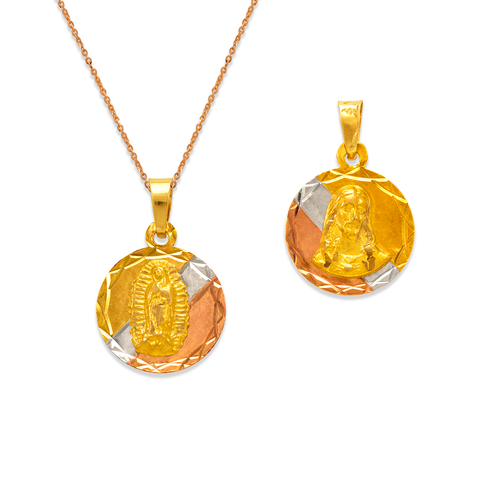 362-652T-013 Round Guadalupe & Sacred Heart Two-Sided Scapular Pendant