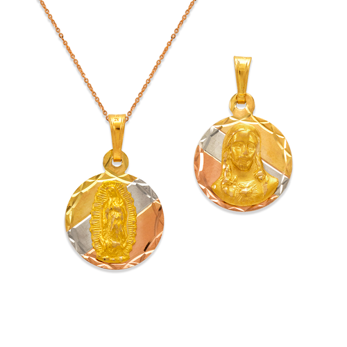 362-652T-016 Round Guadalupe & Sacred Heart Two-Sided Scapular Pendant