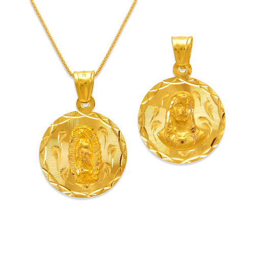 362-653-020 Round Guadalupe & Sacred Heart Two-Sided Scapular Pendant