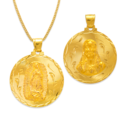 362-653-033 Round Guadalupe & Sacred Heart Two-Sided Scapular Pendant