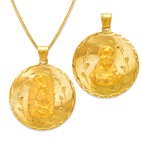 362-653-036 Round Guadalupe & Sacred Heart Two-Sided Scapular Pendant