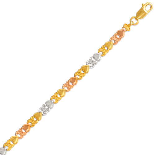 522-106T Ladies Faceted Diamond Cut Tricolor Bracelet