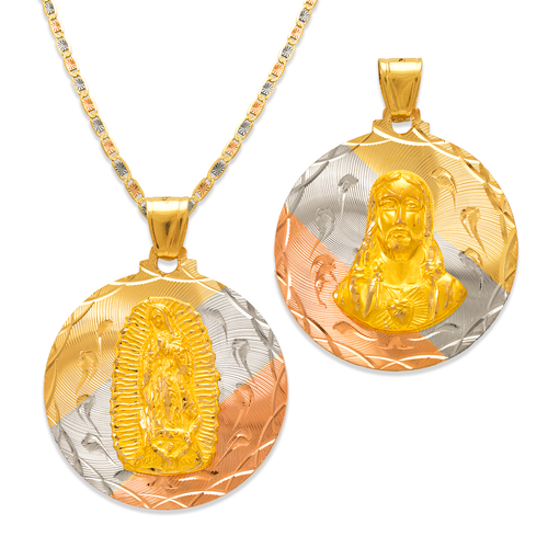 362-653T-033 Round Guadalupe & Sacred Heart Two-Sided Scapular Pendant