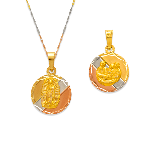362-657T-013 Round Guadalupe/Baptism Two-Sided Scapular Pendant