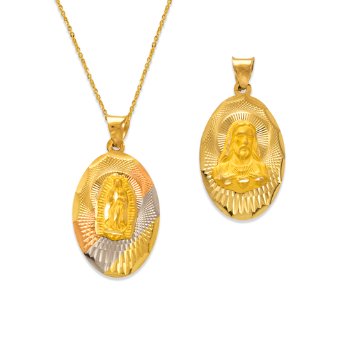 362-901T-021 Oval Guadalupe & Sacred Heart Two-Sided Scapular Pendant