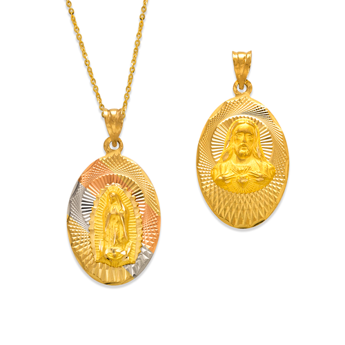 362-901T-025 Oval Guadalupe & Sacred Heart Two-Sided Scapular Pendant