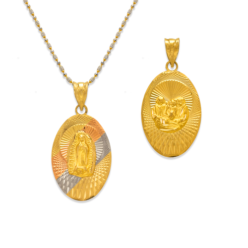 362-906T-021 Oval Guadalupe/Baptism Two-Sided Scapular Pendant