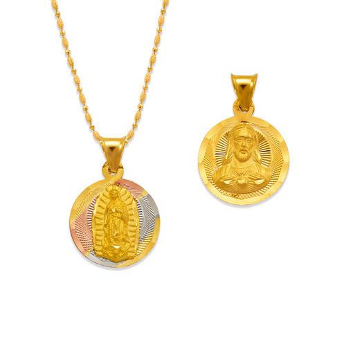 362-931T-013 Round Guadalupe & Sacred Heart Two-Sided Scapular Pendant