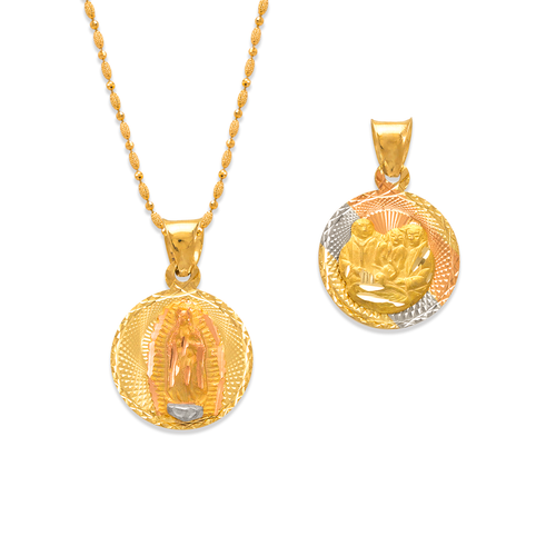362-936T-013 Round Guadalupe/Baptism Two-Sided Scapular Pendant