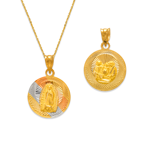 362-936T-016 Round Guadalupe/Baptism Two-Sided Scapular Pendant