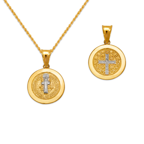 362-971Z-013 Round San Benito Cross Two-Sided Scapular Pendant