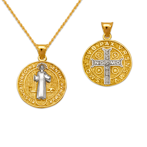 362-972Z-018 Round San Benito Cross Two-Sided Scapular Pendant