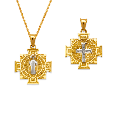 362-982Z-020 San Benito Cross Two-Sided Scapular Pendant