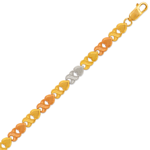 522-110T Ladies Faceted Diamond Cut Tricolor Bracelet