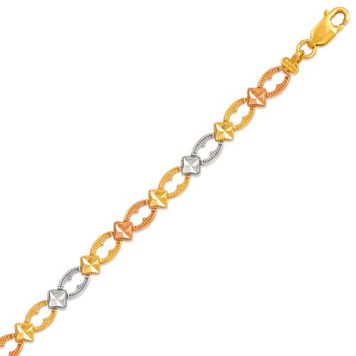 522-111T Ladies Faceted Diamond Cut Tricolor Bracelet