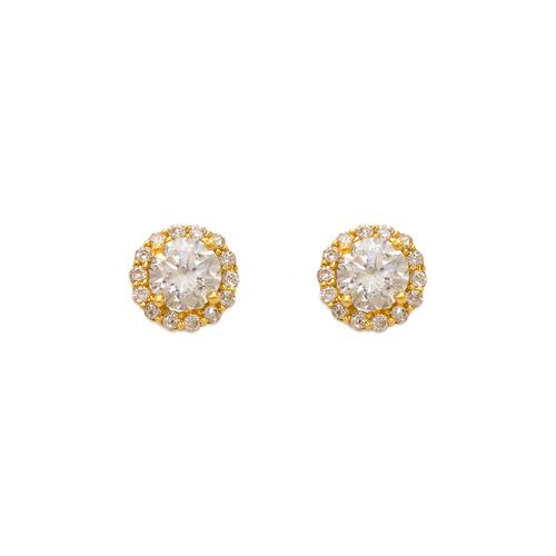 743-006 Fancy Round Solitaire CZ Stud Earrings