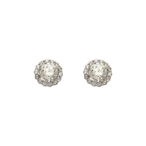 743-006W Fancy Round Solitaire CZ Stud Earrings