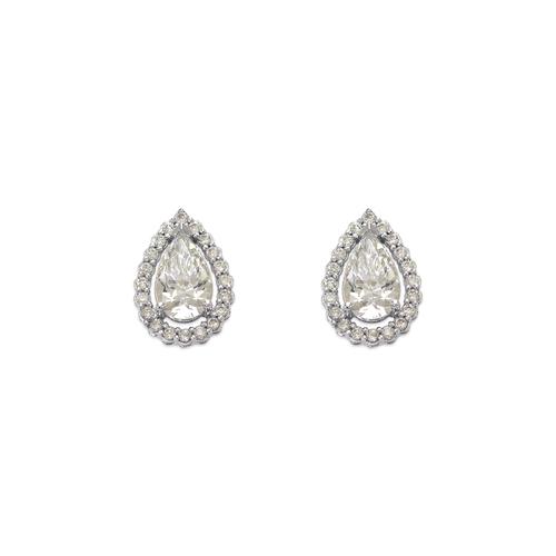 743-008W Fancy Teardrop CZ Stud Earrings