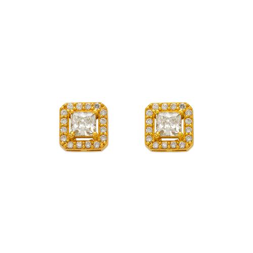 743-009 Fancy Princess Cut CZ Stud Earrings