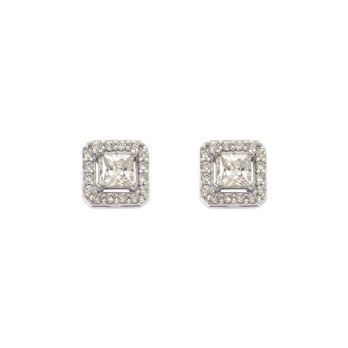 743-009W Fancy Princess Cut CZ Stud Earrings