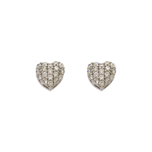 743-015W Fancy Heart CZ Stud Earrings