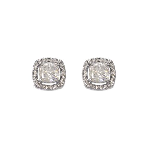 743-031W Fancy Cushion Cut CZ Stud Earrings