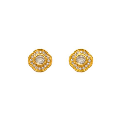 743-032 Fancy Flower CZ Stud Earrings