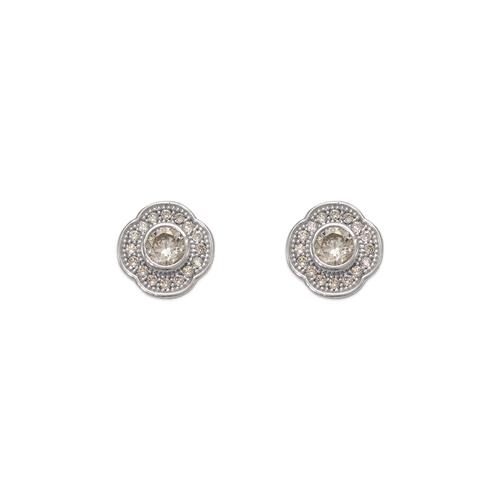 743-032W Fancy Flower CZ Stud Earrings