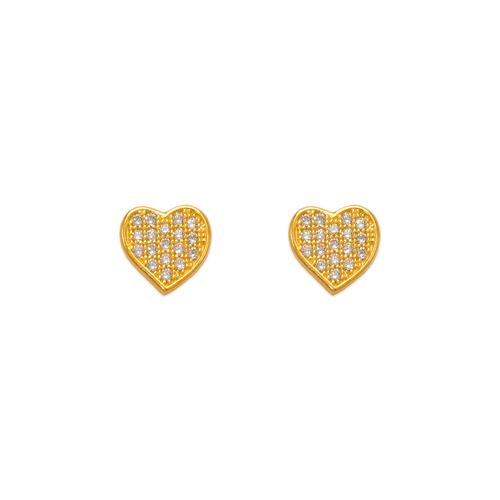 743-033 Fancy Flat Heart CZ Stud Earrings