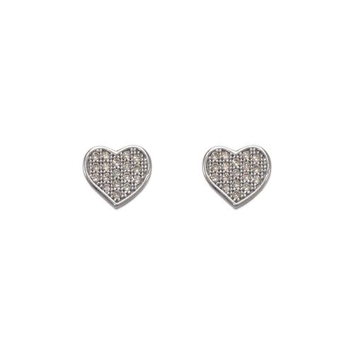 743-033W Fancy Flat Heart CZ Stud Earrings