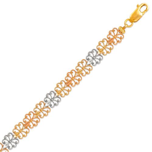 522-113T Ladies Faceted Diamond Cut Tricolor Bracelet