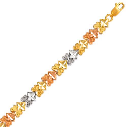 522-115T Ladies Faceted Diamond Cut Tricolor Bracelet